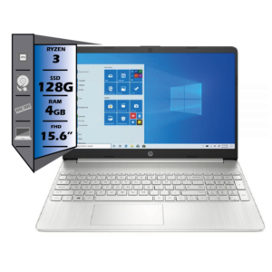 NOTEBOOK HP 15.6 FHD RYZEN 3-3250 4GB RAM 128GB SSD SILVER WINDOWS 10 HOME IN S MODE 15-EF1300WM (1)